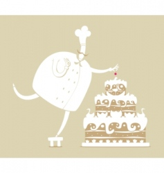 cook and cake vector image