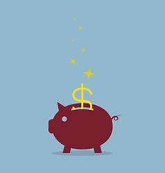 Red piggy bank with dollar sign vector