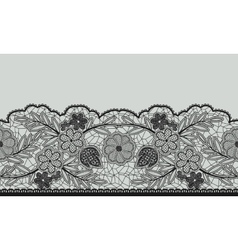Seamless floral lace ribbon on gray vector