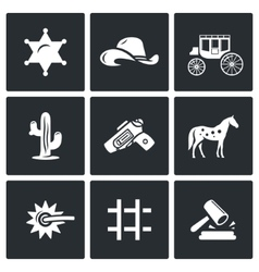 Justice in the wild west icons set vector
