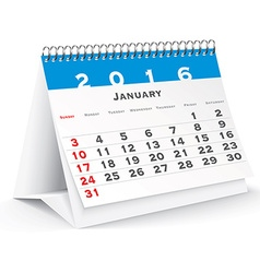 January 2016 desk calendar vector