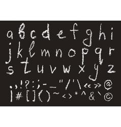 Hand written chalk lowercase english alphabet vector image