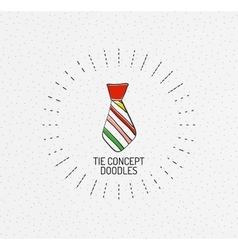 Tie concept multicolored hand-drawn doodles vector image