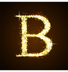 Alphabets b of gold glittering stars vector