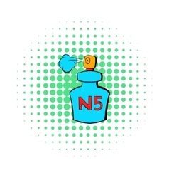 Bottle of chanel no5 perfume icon comics style vector
