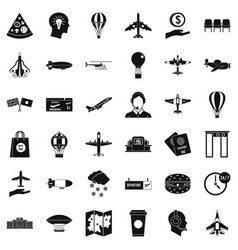 Airplane icons set simple style vector
