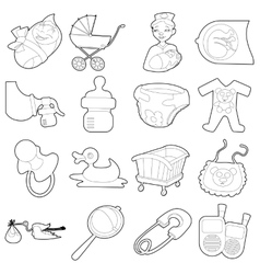 Baby born icons set cartoon outline style vector image