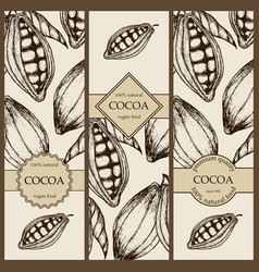 banner set witn hand drawn cocoa vertical banner vector image
