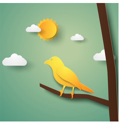 Bird on branch paper art style vector