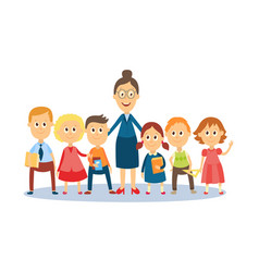 cartoon teacher standing with students pupils vector image vector image