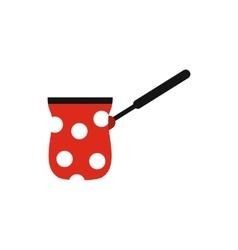 Cezve turkish coffee maker icon flat style vector image