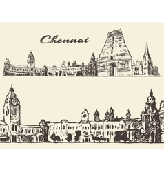 Chennai engraved hand drawn sketch vector