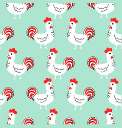 cock white cartoon seamless pattern vector image