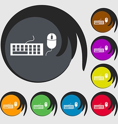 Computer keyboard and mouse Icon Symbols on eight vector image