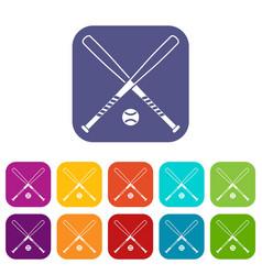 Crossed baseball bats and ball icons set vector