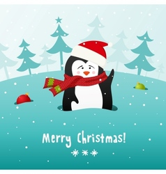 Cute Christmas penguin background vector image vector image