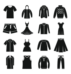 Different clothes icons set simple style vector image vector image