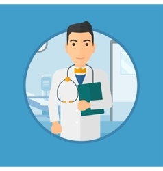 Doctor with file in medical office vector