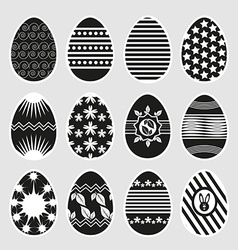 Easter eggs in black and white vector image