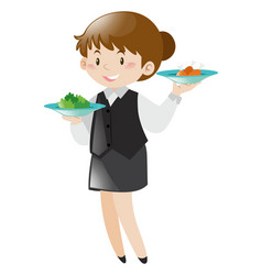 female server serving food vector image vector image