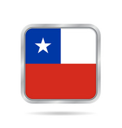 flag of chile shiny metallic gray square button vector image
