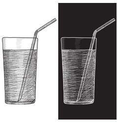 Glass of water with drinking straw hand drawn vector