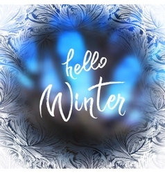 Hello winter lettering vector