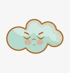 Kawaii angry cloud icon vector