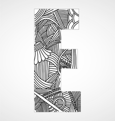Letter e from doodle alphabet vector