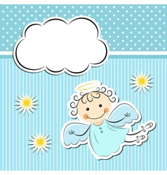 Little angel with stars and cloud vector image