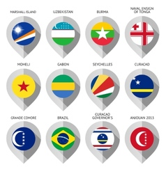 Marker from paper with flag for map - set eleventh vector image