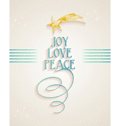 Merry Christmas Joy Love and Peace text card vector image