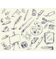 Office supplies products for artists art supplies vector