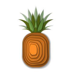 Paper art pineapple vector