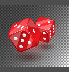 red dices on transparent background vector image vector image
