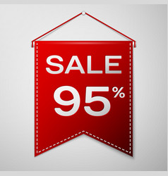 red pennant with inscription sale ninety five vector image