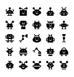 Robotics solid icons vector