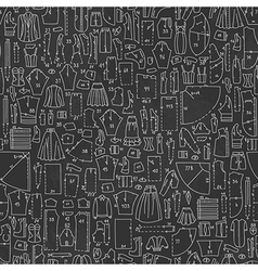 Seamless hand drawn doodle pattern with clothes vector image