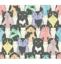 Seamless pattern with cute cats for children vector image
