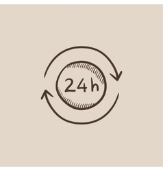 Service 24 hrs sketch icon vector