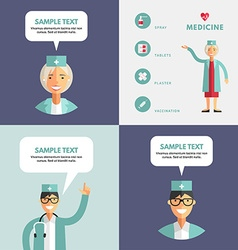 Set of flat design of doctor infographic design vector