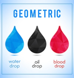 Set of geometric icons water oil and blood drops vector