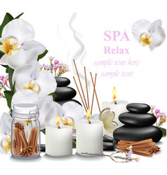 spa relax card candles orchid aromas and stones vector image
