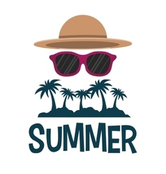 summer tropical palm sunglasses and hat vector image