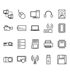 Thin line tecnhology icon set vector