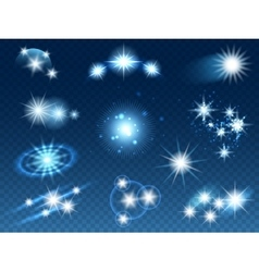 Transparent glowing light effects stars sparkles vector image vector image