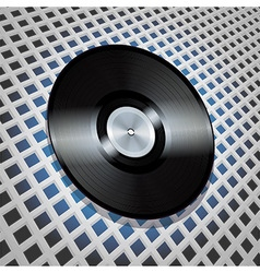 vinyl record with metallic centre on lattice vector image vector image