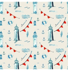 Watercolor sea pattern with lighthouse and lamp vector
