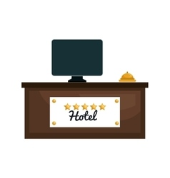 Hotel reception place isolated icon vector