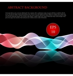 Glowing waves on black background vector